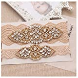 anstar Bridal Garter Champange Stretch Lace Bridal Garters With Gold Rhinestones For Weddings