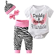 Derouetkia 4Pcs Baby Girls Clothes White Letters Short Sleeve Bodysuit Tops+Zebra Pants+Hat+Headband Outfit Set (70(6-9 Months))
