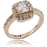 FAIRY COUPLE women Princess Cut Cubic Zirconia Ring R215