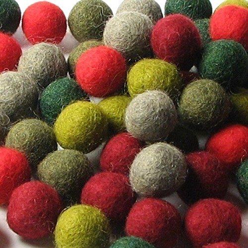 60 Hand-felted Wool Felt Balls 2CM Retro Christmas Handbehg Felts Fiber Crafts