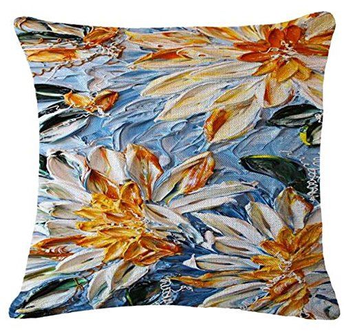 Oil Painting flower Daisy Cotton Linen Throw Pillow Case Cushion Cover Home Sofa Decorative 18 X 18 Inch£¨3£ ¡ (29)