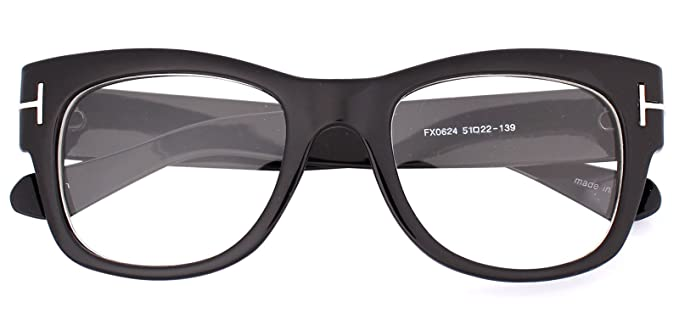 7b89c1eb0e14 Oversized Square Thick Horn Rimmed Clear Lens Eye Glasses Frame Non- prescription (Black