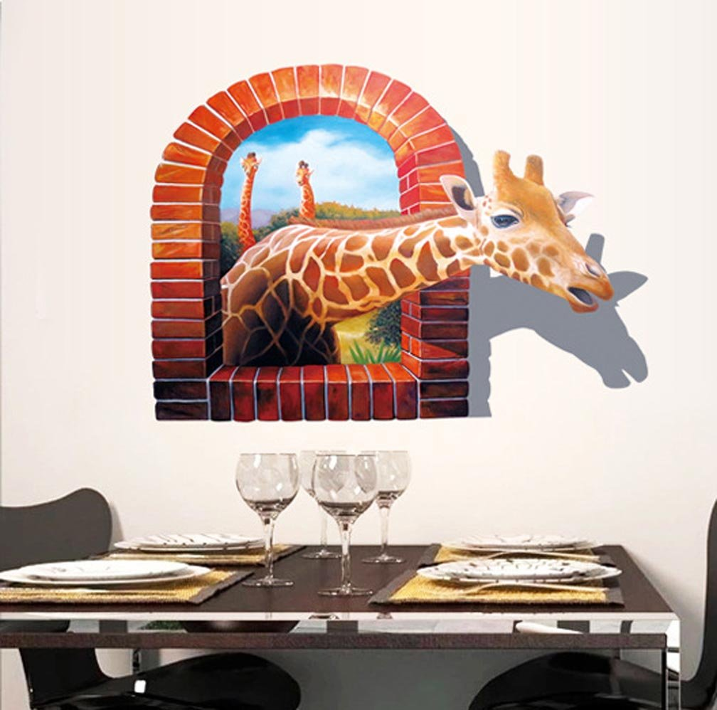 BIBITIME Break Through the Wall Stickers Vivid 3D Giraffe Decor Nursery Bedroom Fake Window Animal Vinyl Decals