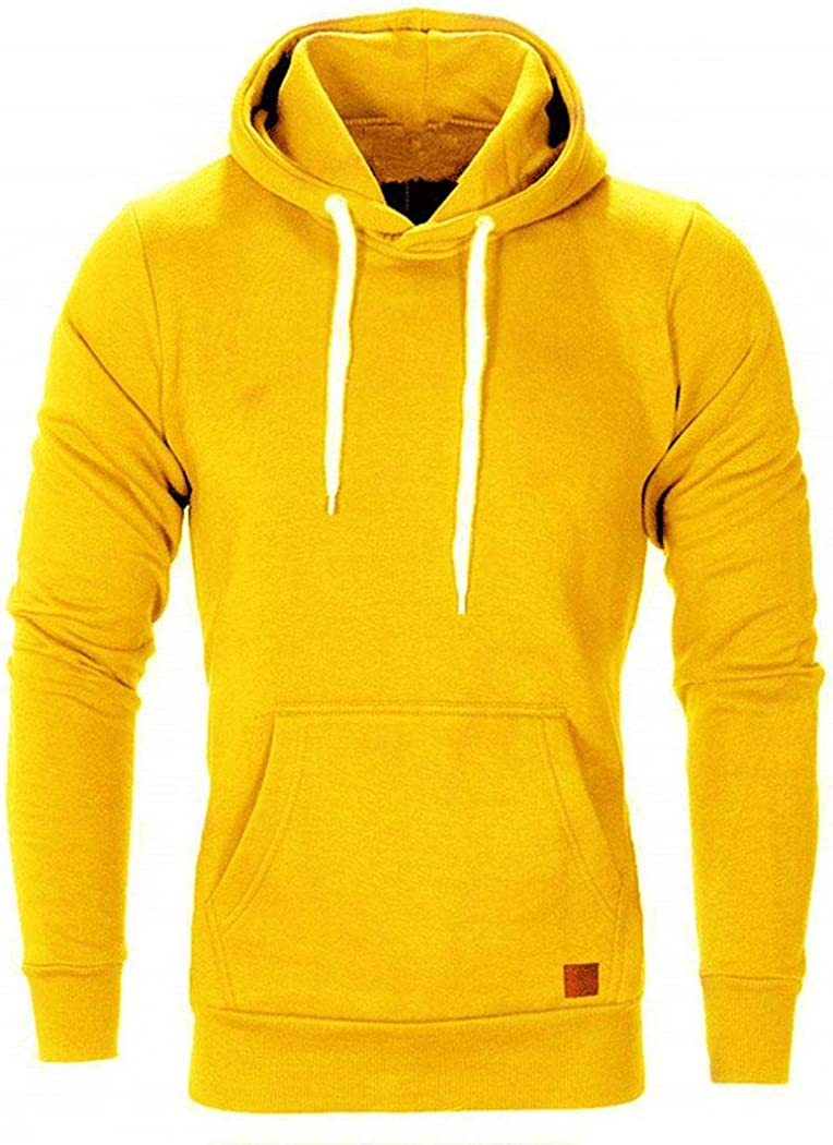 Vpicuo Men Fashion Winter Casual Hooded Long Sleeve Solid Pocket Hoodies Active Hoodies