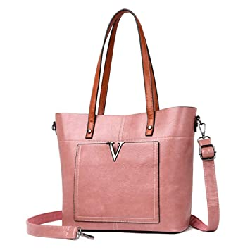 9a06d47ce483c RXF Handtasche Damen Schulter Umhängetasche Lässig Big Bag (Farbe   Pink