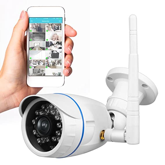 Wireless Outdoor IP Security Camera - Weatherproof HD 720p Home WiFi  Surveillance Internet Video w/ Built in16g SD Storage - Motion Detection  Night