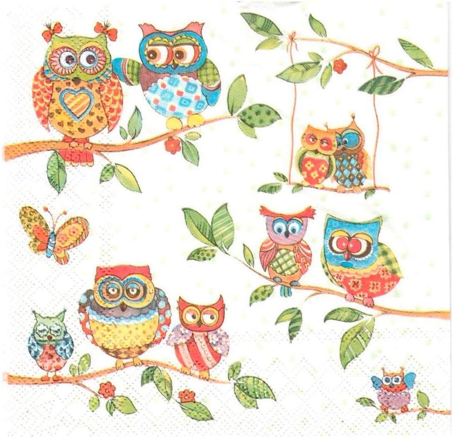 Ambiente-serviettes-en-owls summerland motif hibou et hiboux