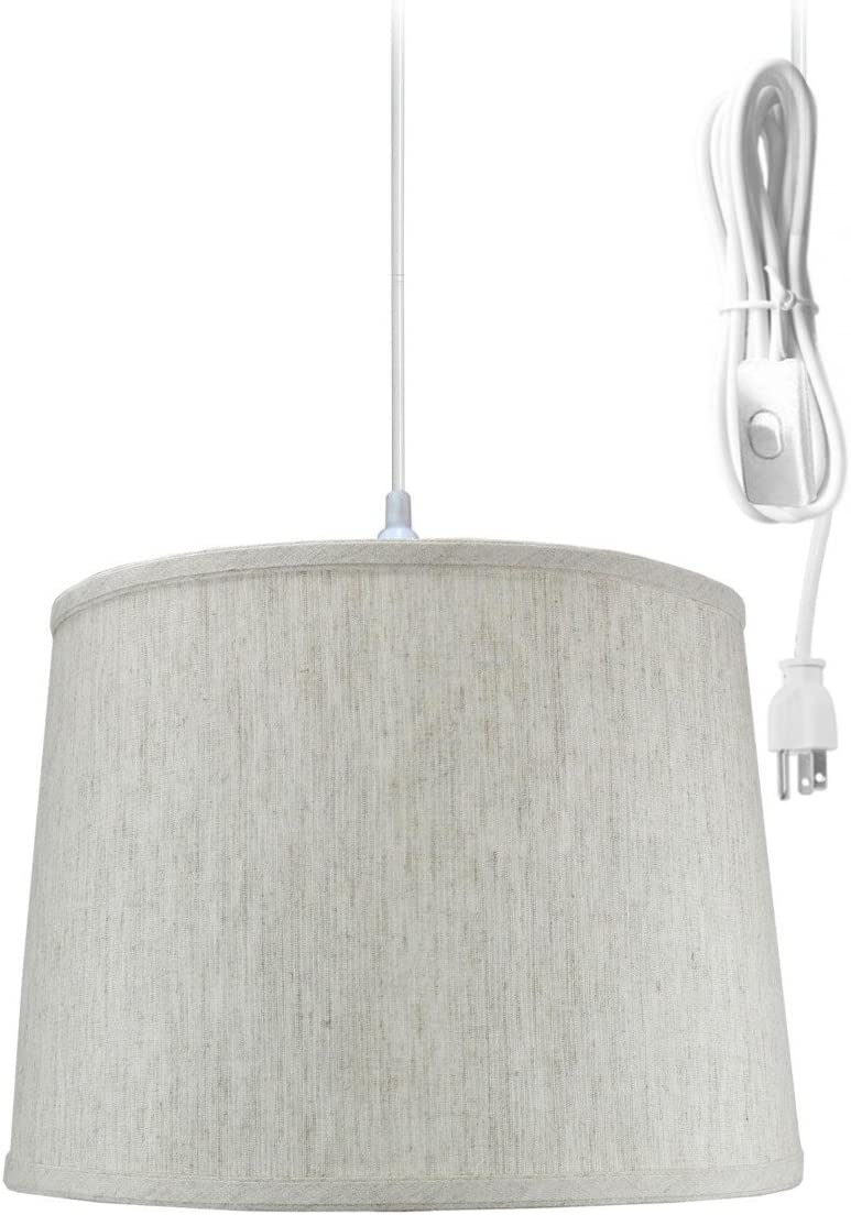 Plug-in Pendant Light by Home Concept – Hanging Swag Lamp Textured Oatmeal Drum Shade – Perfect for Apartments, dorms, no Wiring Needed Textured Oatmeal, White One-Light