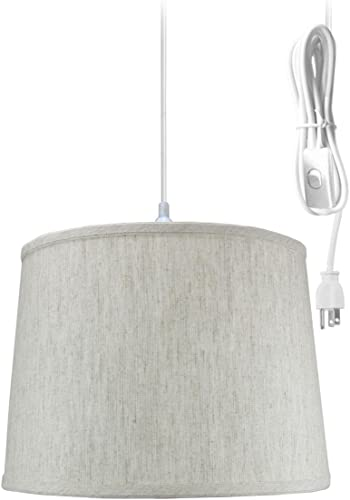 1 Light Swag Plug-in Pendant 14″w Textured Oatmeal Shade