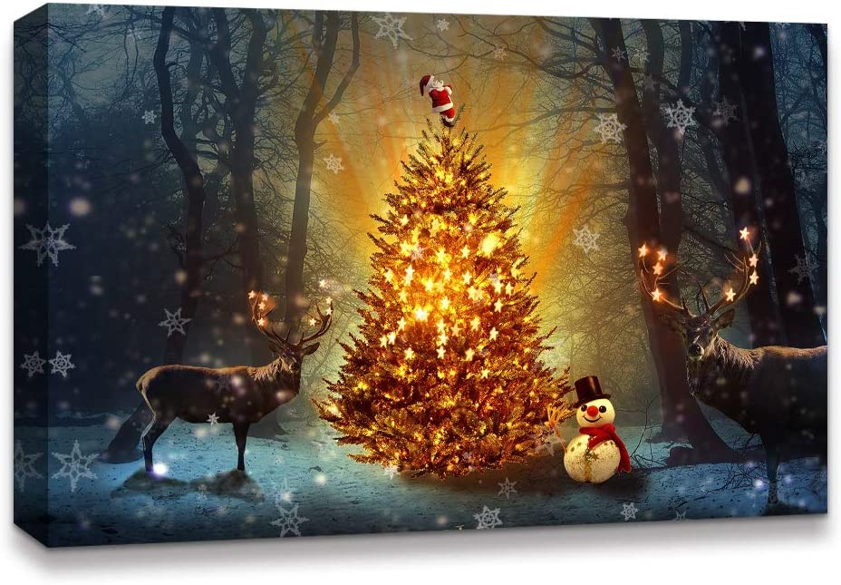 NWT IDEA4WALL Canvas Wall Art Christmas Tree Celebration Painting Artwork for Home Prints Framed - 16x24 inches