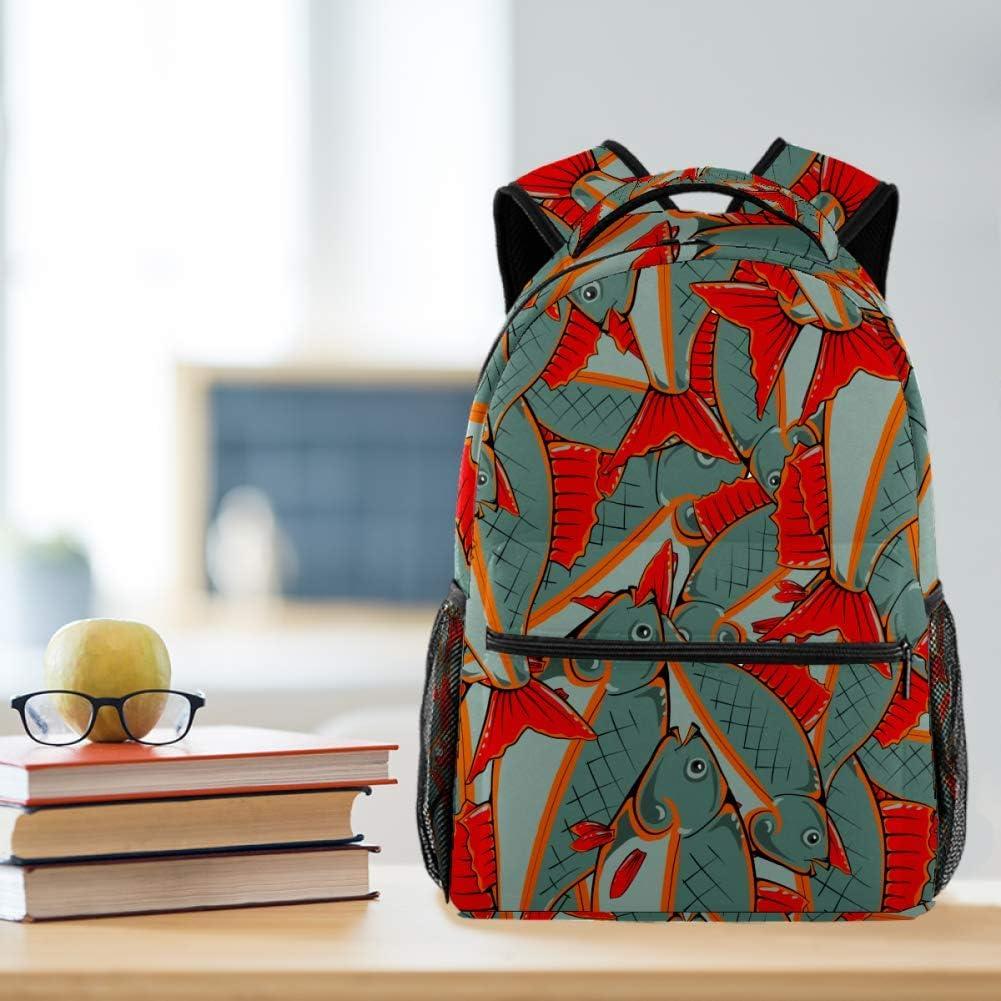 Fish School Backpacks 16 Inch Student Bookbag Travel Basic Daypack Laptop Bag