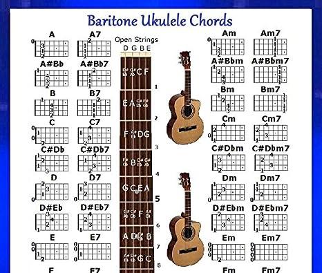 Amazon Baritone Ukulele Chords Chart For Uke Musical Instruments