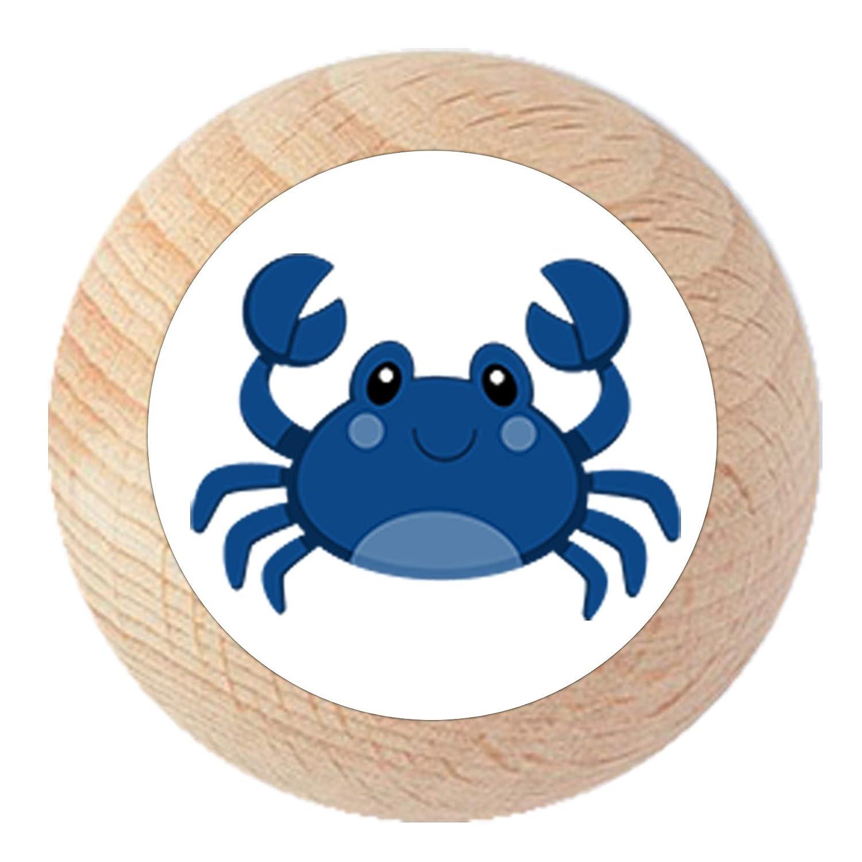 T/ürknauf M/öbelknauf M/öbelknopf M/öbelgriff Jungen hellblau dunkelblau blau Massivholz Buche dunkelblau Kinder Kinderzimmer Krabbe blau Meerestiere maritim
