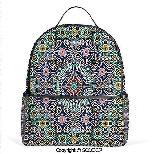 All Over Printed Backpack Classic Mosaic Design Striped Centered Detailed Craft Work Tile Antiquity Illustration,For Girls Cute Elementary School ()