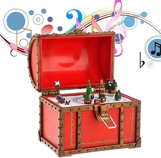 XHGFD Caja de música Estilo Cofre de Navidad Caja Musical Caja ...