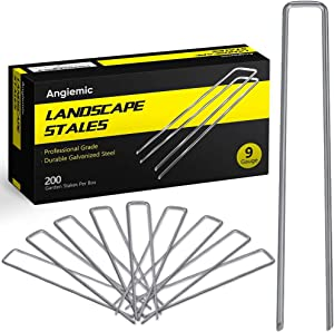 Angiemic 200 Pack 12 Inch 9 Gauge Galvanized Landscape Staples Garden Stakes Ground Staples Sturdy Rustproof Landscaping Staples Sod Pins for Anchoring Weed Barrier Landscape Fabric Ground Cover Fence