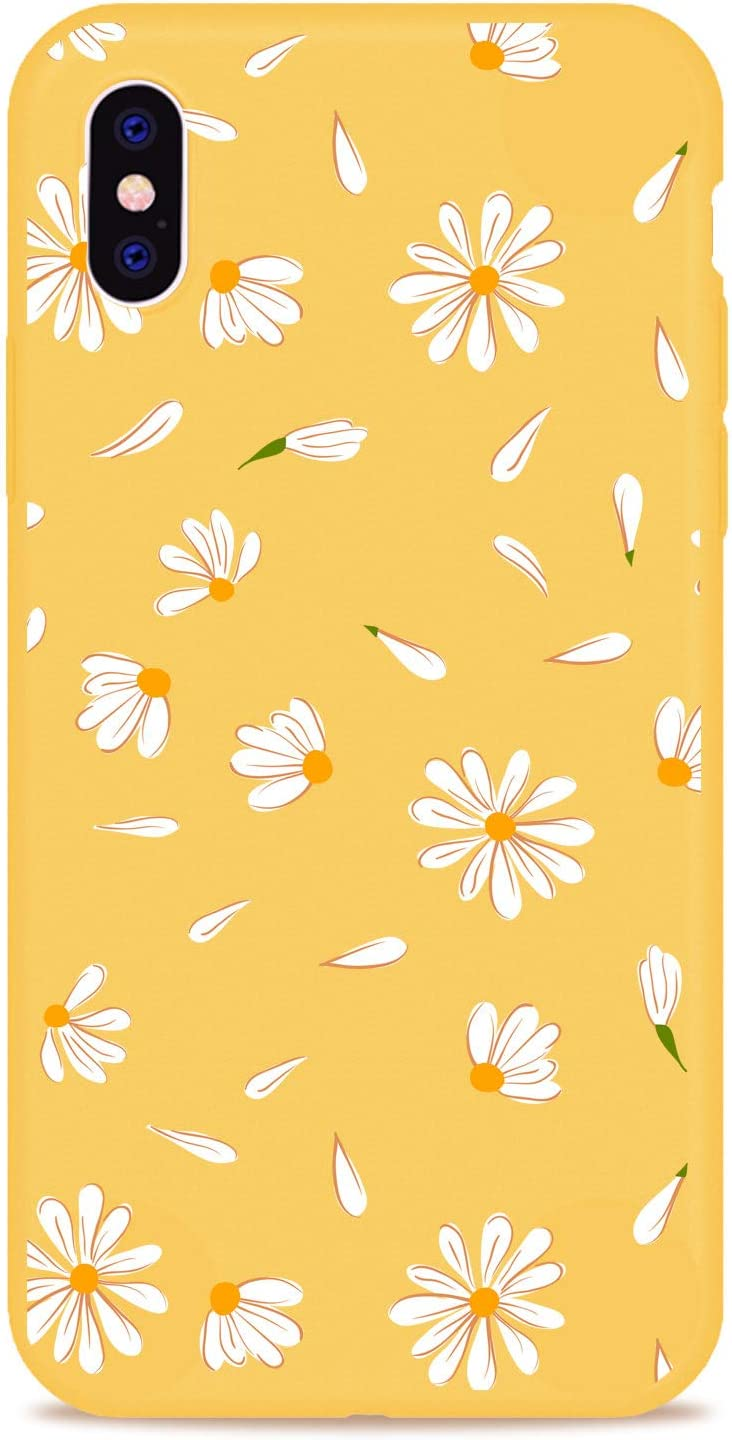 MAYCARI Cute Daisy Flower Case for iPhone X/iPhone Xs, Full Protective Soft Rubber Matte TPU Cover Slim Fit Phone Case for Women Girls - Yellow