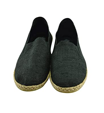 virblatt Comfortable Hemp Espadrilles Men with Ethnic Pattern Hemp Slippers - Bequem bk43 Black