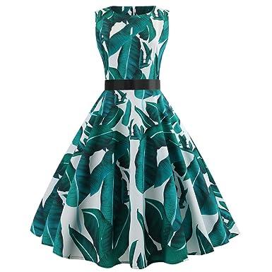Kleider für Damen Ärmellos Kleid Maxikleider Blumenkleid Blätter Drucken  Strandkleid Vintage Abendkleid Hohe Taille Elegant Hepburn Freizeit Partei  Prom ... c8d7842666