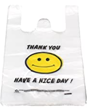 BQLZR Recyclable White Plastic Carry Out Shopping Bags Smiley Smiling Smile face 26 x 40cm Pack of 100