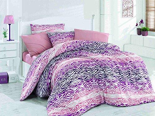 LaModaHome 2 Pcs Luxury Soft Colored Bedroom 100% Cotton Ranforce Single XXL Quilt Duvet Cover Set/Leopard Wild Animal Purple And Pink Pattern Theme/Single XXL Size
