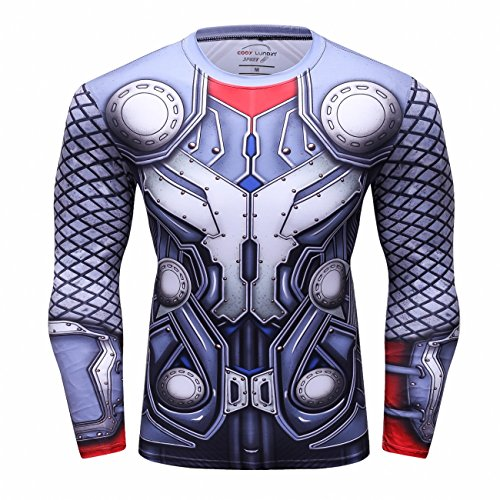 Red Plume Men's Thunder Superhero Sports Shirt Party/Gift Running Functional Long Sleeve Tee (XL)]()