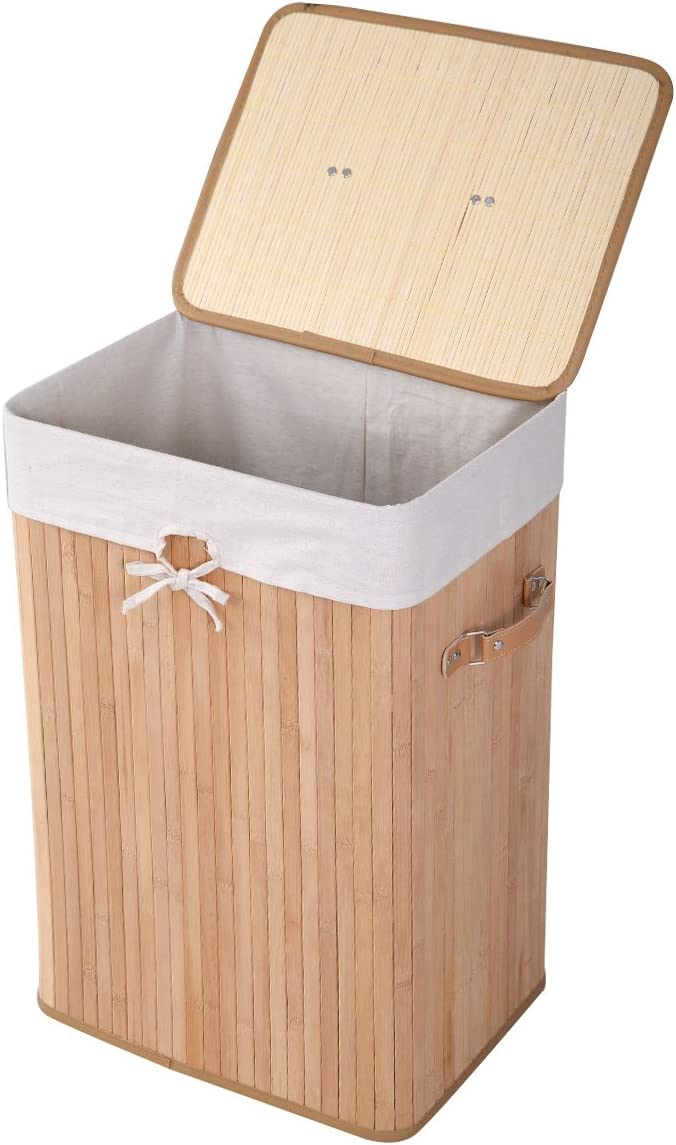 GOFLAME Bamboo Laundry Hamper Portable, Dirty Clothes Storage Basket with Lid and Removable Liner, Large Storage Clothes Bin with Handles, Suitable for Bedroom, Bathroom, Kid's Room (Natural)