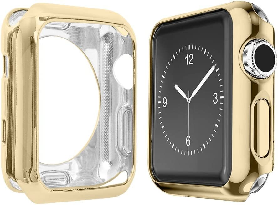 Alritz for IWatch Case 42mm, Soft Slim TPU Protective Case Anti-Scratch Bumper Cover for IWatch Series 1/2/3/Nike+/Sport/Edition, Gold