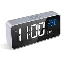 LATEC Digital Väckarklocka, LED-Display Smart Väckarklocka Med Temperatur, USB-Laddningsport, 12/24 Timmar, 4 Justerbar…