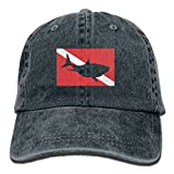 FastsCOW Scuba Diving Shark Vintage Washed Dyed Cotton Twill Low Profile Adjustable Baseball Cap Navy