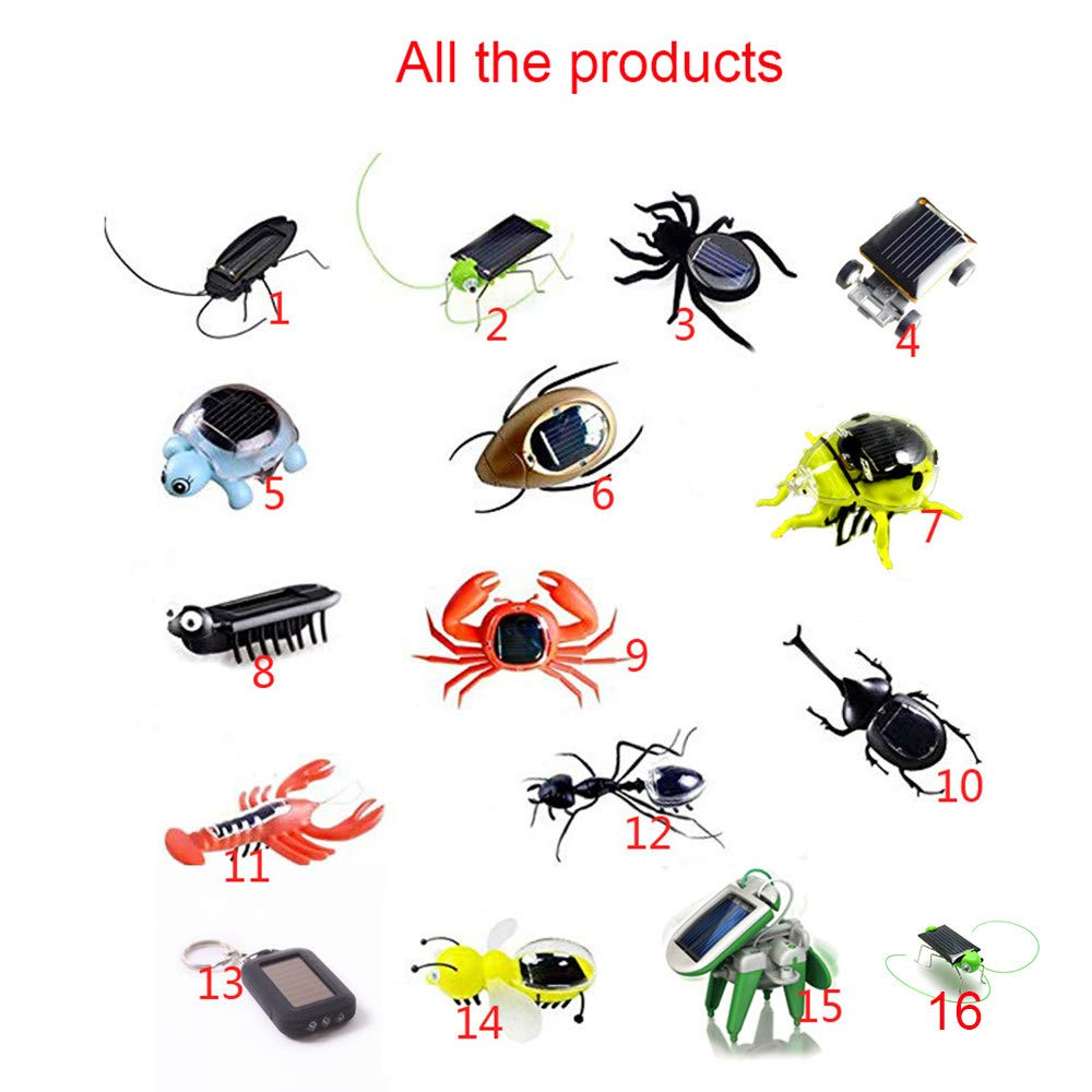 LSSLSS Solar Toys/Turtles, Ants, Crabs, Solar Insect Plastic Toys, Solar Gifts (1 Set of 16 Products) A Variety of Styles. Toys That Move by Themselves in The Sun.