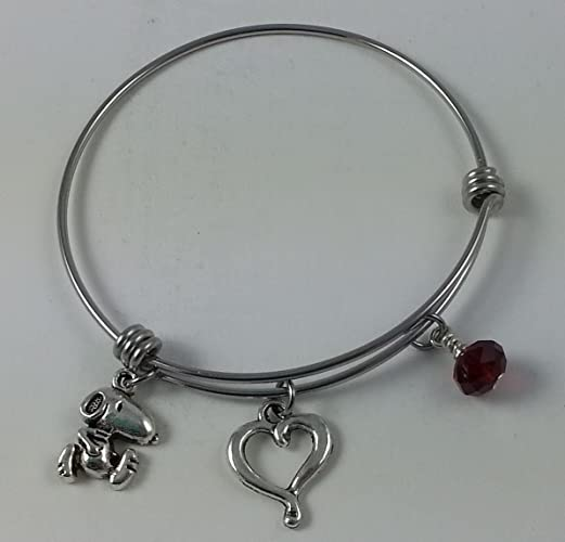 4f43c1e0565b0 Snoopy Stainless Steel Adjustable Bangle Charm Bracelet with Open Heart and  Red Dangle.