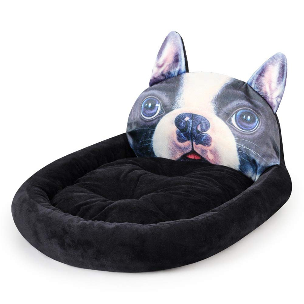 Black Small Black Small Liergou Pet Bolster Bed Cloth Shiba Dog Fighting Cartoon Animals Fang Wo Pets Three-dimensional Kennel Mats (color   Black, Size   S)