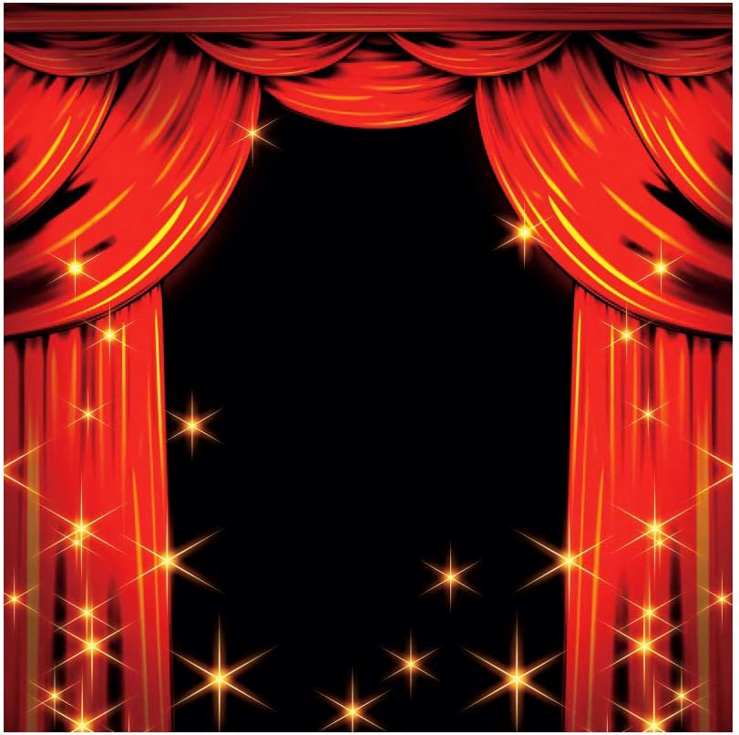 YEELE 10x10ft Red Curtain Stage Backdrop Stage with Red Curtain and Falling Stars Photography Background Birthday Party Kids Acting Show Photo Booth Props Wallpaper