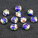 TIDOO Jewelry 10PCS 6mm Round Cloisonne Beads Wiry Enamel for DIY Jewelry Making Accessories (2# Dark Blue)