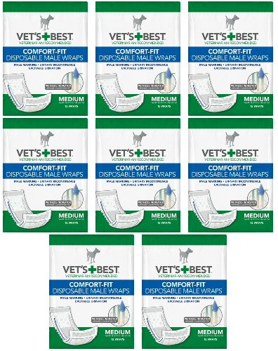 Image of Veterinarian's Best Comfort-fit 8 packs of 12 wraps (96 total wraps) Disposable Male Wrap,Medium