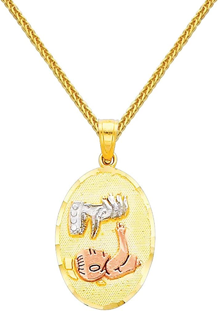 14k Tri-color Gold Religious Pendant with 0.8mm Braided Square Wheat Chain Necklace