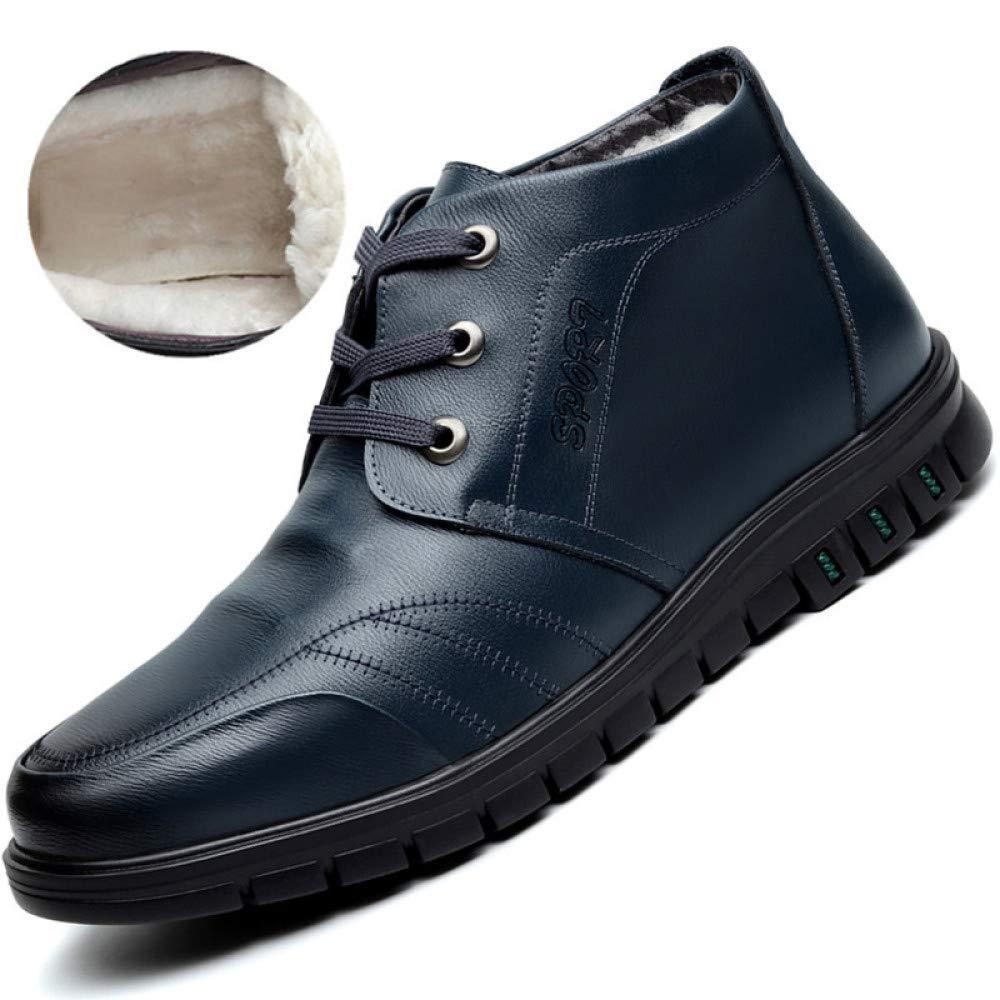 Herren Winter Outdoor Casual Lederschuhe British Style Ankle Stiefel Winter Schnee Warme Stiefel - Für Die Arbeit Und Das Gehen,Blau-43