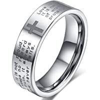 Womens 4mm Tungsten Carbide White Ring Engraved English Bible Verses About Love Cross Band for Her