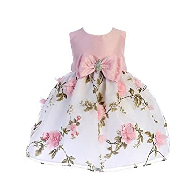 ab91f2453d65 Amazon.com  Crayon Kids Baby Girls Pink Floral Print Easter Flower ...
