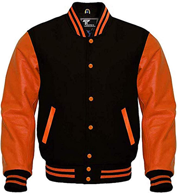 Black Wool Varsity Letterman College Bomber Jacket Black Real Leather Sleeves