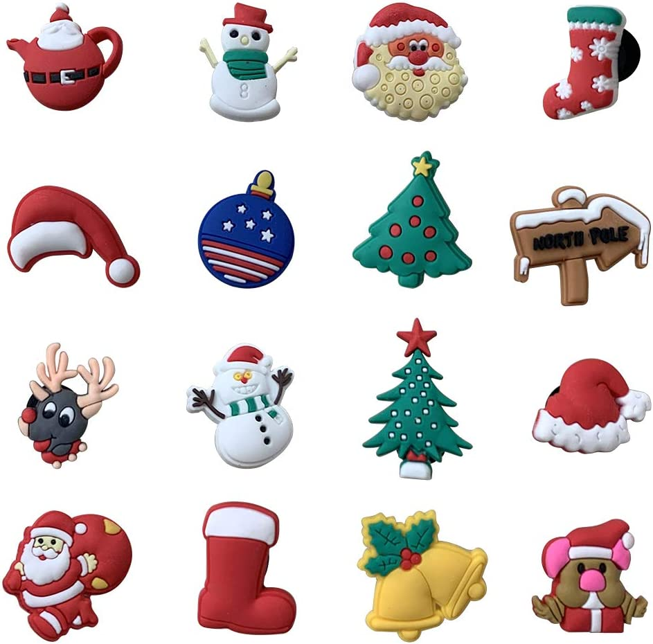 16pcs Santa Claus Christmas Day Present Shoe Charms for Croc /& Jibbitz Bracelet Wristband Kids Party Birthday Gifts