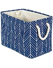 """DII Collapsible Polyester Storage Basket or Bin with Durable Cotton Handles, Home Organizer Solution for Office, Bedroom, Closet, Toys, & Laundry(Small- 14x8x9""""), Nautical Blue Herringbone"""