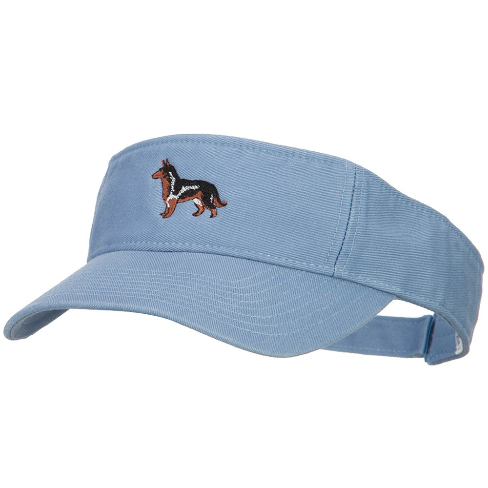 German Shepherd Embroidered Pro Style Cotton Washed Visor - Blue OSFM