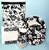 Elegant Trendy Black & White Damask Party Supplies -Plates Invites Cups & More