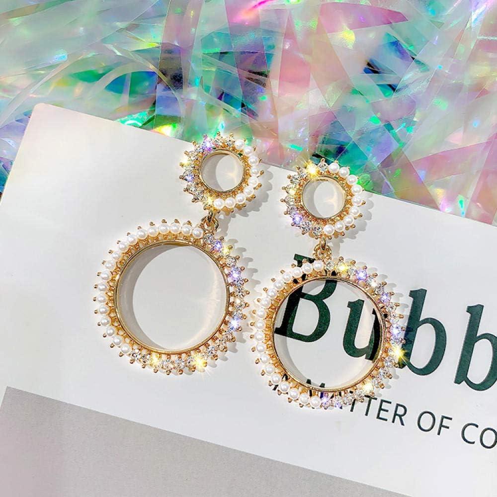 Erin Earring Joyas De Moda Japonesa Y Coreana Pendientes Redondos Dobles Pendientes De Cristal De Perlas Pendientes De Fiesta De Boda para Mujer