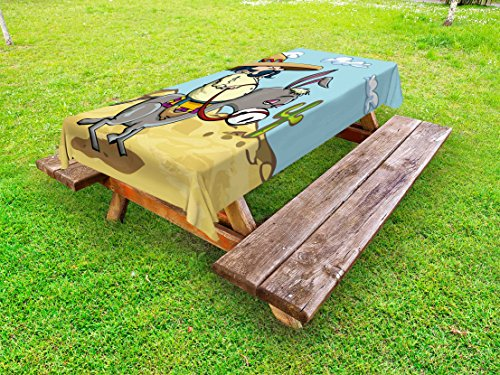 Ambesonne Cartoon Outdoor Tablecloth, Mexican Man Wearing Sombrero Hat Riding a Donkey in The Desert with Cactus Plants, Decorative Washable Picnic Table Cloth, 58 X 120 inches, Multicolor by Ambesonne