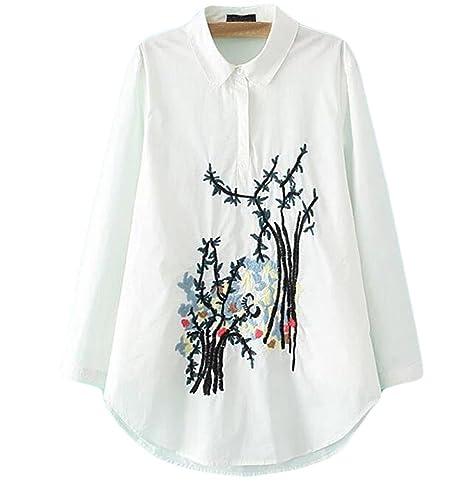 Primavera De Gran Tamaño Delgado Mujeres Tinta Bordado De Manga Larga Camisa Jersey