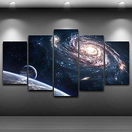 Amazon Com Jesc 5 Pieces Hd Print Painting Outer Space Planet
