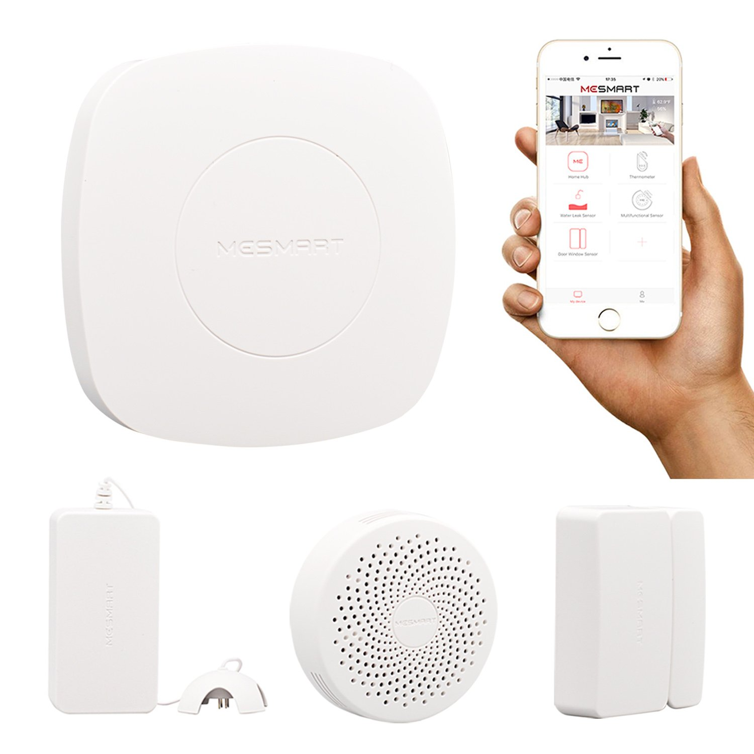 MESMART Smart Automation Monitoring Kit Gateway (Home Hub+Water Leak+Gas Leak+Door Sensor) Contact Magnetic Detector Alarm Zigbee Wireless App Control Compatible with Amaozn Alexa